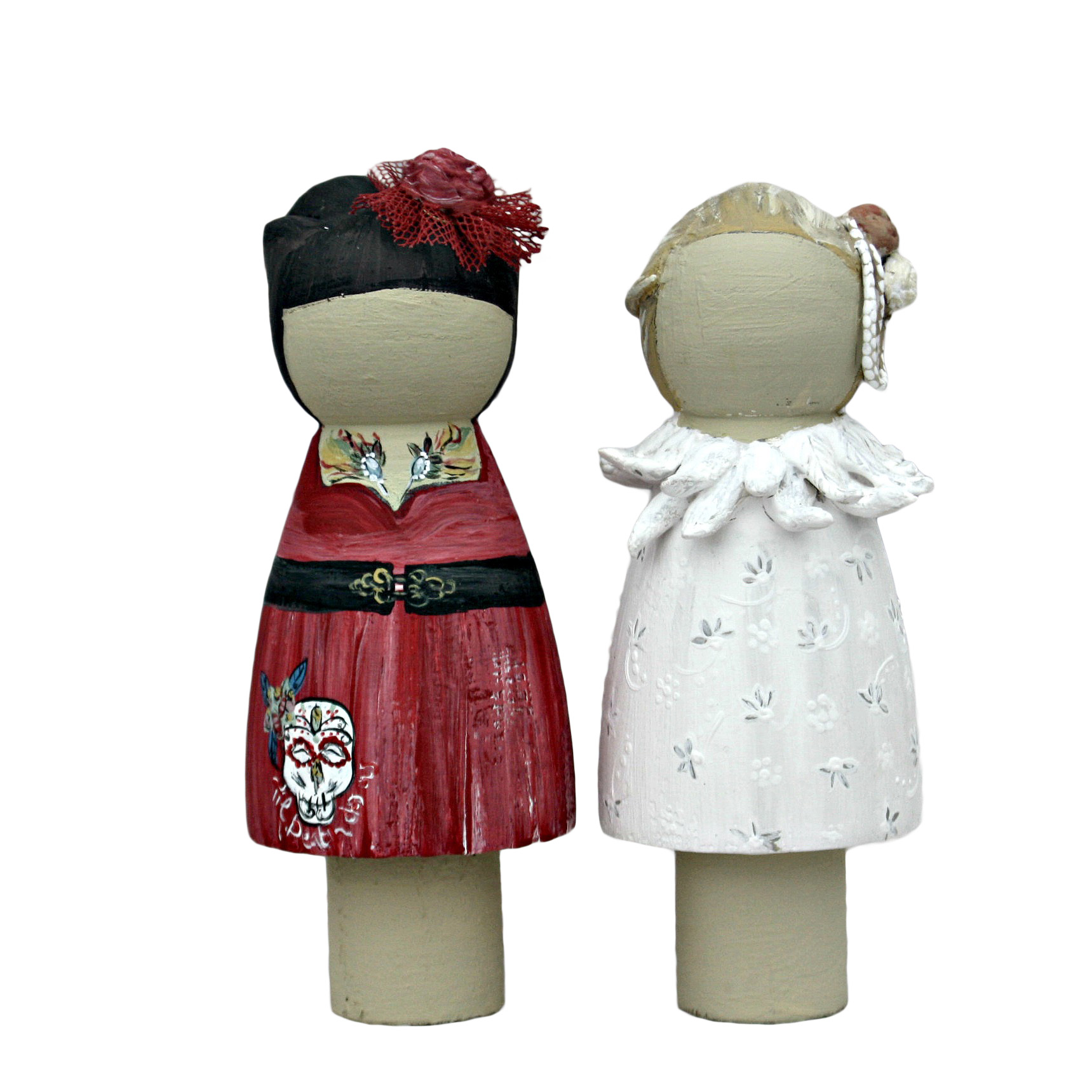 Bride and Bride Wedding Cake Topper - Peg Doll - Lotty Lollipop